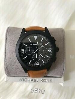 Brand New Michael Kors Men Matte Black Gareth Brown Chronograph Watch MK8450