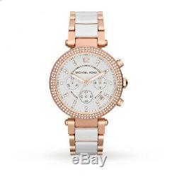 Brand New Michael Kors Mk5774 Parker White Dial Strap Rose Gold Ladies Watch Uk