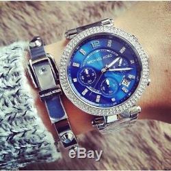 Brand New Michael Kors Mk6117 Parker Silver Blue Dial Womens Watch Uk Gift