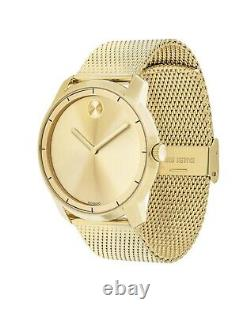 Brand New Movado Bold Mens Gold Stainless Steel Mesh Bracelet Watch 3600373