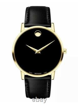 Brand New Movado Mens Museum Classic Black Dial Gold Slim Leather Watch 607314