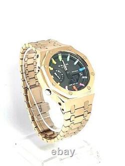 Brand New Rose Gold G-shock Watch GA-2100SKE-7A Rainbow Casioak AP Style