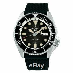 Brand New Seiko 5 Men's Automatic Black Dial Black Silicone Band Watch Srpd95
