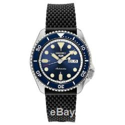 Brand New Seiko 5 Men's Automatic Blue Dial And Black Silicone Watch Srpd93