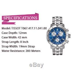 Brand New Tissot T067.417.11.041.00 PRS 200 Stainless Steel Blue Dial Mens Watch