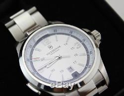 Brand New Victorinox Swiss Army Night Vision Silver 241571 Led Light Men's Watch