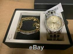 Bulova Men's Watch And Bracelet Gift Set Brand New 98k106