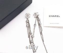 Chanel Brand New Silver CC Grey Bead Long Chain Piercing Earrings