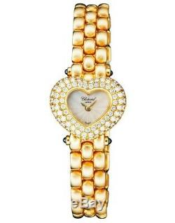 Chopard Yellow Gold & Diamond Heart Shaped Case Bracelet Ladies Watch Brand New