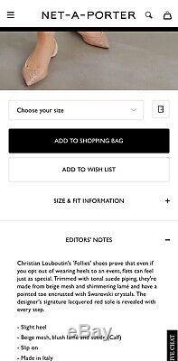 Christian Louboutin, Follies strass Flat, Beige Size-37EU (-BRAND NEW-)RRP-£785
