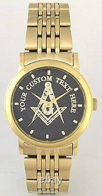 Citizen Brand Custom Masonic Medallion Dial Watch All Gold Finish New