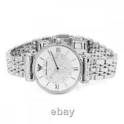 Emporio Armani Ladies Silver Sparkle Watch AR1925 Brand New