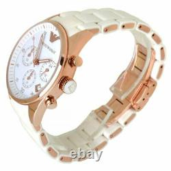 Emporio Armani Women AR5920 White Silicone Rose Gold Watch Unisex Brand New
