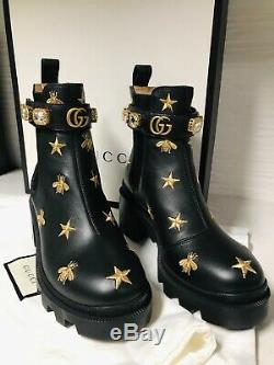 GUCCI BOOTS! WITH CRYSTAL ANKLE STRAP, EMBROIDERED, SIZE 36, BRAND NEW, With BOX