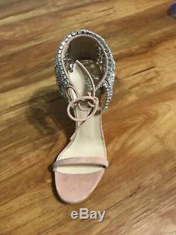 Giuseppe Zanotti Mistico Crystal Ankle Wrap Heels Size 36 (Sand)-Brand New