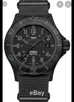 Glycine Black 2824 powered Combat Sub 42mm GL0086 Brand New Never worn
