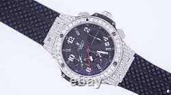Hublot Big Bang Brand New 38mm BLACK DIAL 7 Ct Diamonds On Bezel, Lugs and Lock