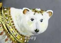 Jay Strongwater Amazing Polar Bear Glass Christmas Ornament Brand New Box