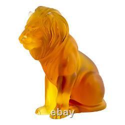 Lalique Amber Lion Bamara Figurine #10139900 Brand Nib Golden Lion Save$$ F/sh
