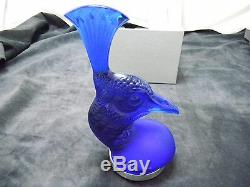 Lalique Crystal Blue Peacock Head Tete De Paon Brand New in Box $1085.00