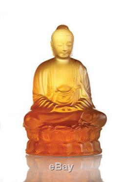Lalique Crystal Buddha Sculpture Amber Small #10140300 Brand Nib Signed Save$ Fs
