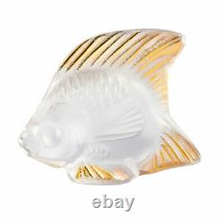 Lalique Crystal Clear And Gold Stamp Fish #10685100 Brand Nib French Save$$ F/sh