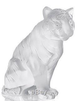 Lalique Crystal Sitting Tiger Figurine #10058000 Brand Nib Clear Save$ F/sh
