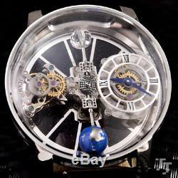 Luxury Brand New Japanese Quartz Silver Leather Tourbillion Sapphire Ball Watch