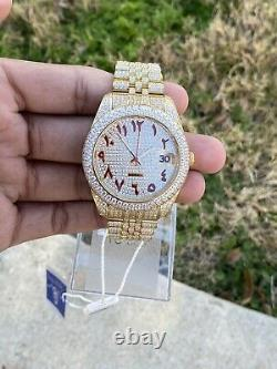 Men's Stainless Steel Gold Watch with Custom Arabic Numeral Dial, Brand New