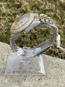 Men's Stainless Steel Two-Tone Watch with Custom Arabic Numeral Dial, Brand New