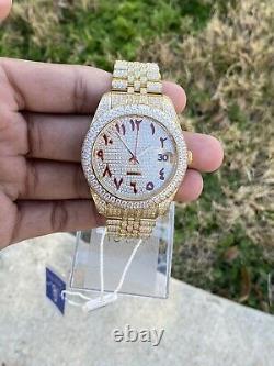Men's Stainless Steel Watch, Custom Hip-Hop Arabic Dial, Lab Diamonds, Brand New