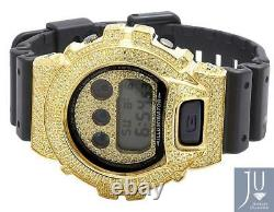 Mens Casio G Shock 6900 Yellow Gold Plated Canary Lab Diamond Watch 5.5 Ct