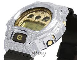 Mens Ladies Casio G Shock 6900 Brown Glossy Genuine White Diamond Watch 3.0 Ct