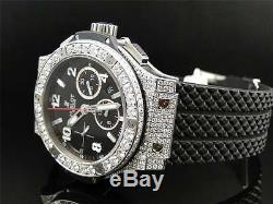 Mens brand new Hublot Big Bang 44mm Evolution Rubber Band diamond watch 10 Ct