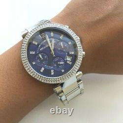 Michael Kors Ladies Watch Blue Silver Chronograph Parker MK6117 Brand New UK