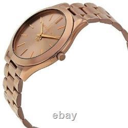 Michael Kors MK3418 Slim Runway Sable Dial BrownWomen Unisex Watch Brand New