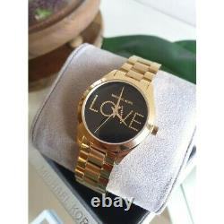 Michael Kors MK3803 Slim Runway Black Gold Tone LOVE Women Watch Brand New