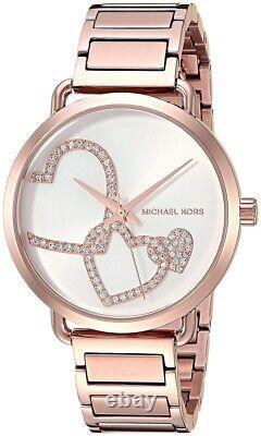 Michael Kors MK3825 Portia Heart Rose Gold Tone Women Watch Brand New