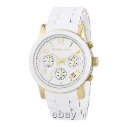 Michael Kors MK5145 Runway White Gold Silicone Chrono Women Watch Brand New