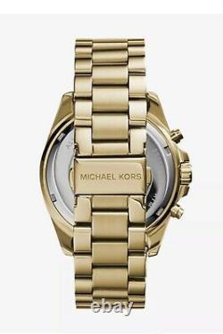 Michael Kors MK5739 Bradshaw Black Dial Gold Tone Chrono Women Watch Brand New