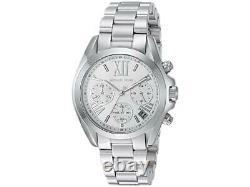 Michael Kors MK6174 Bradshaw Mini Silver Dial Chrono Women Watch Brand New