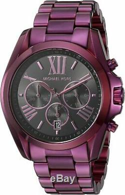 Michael Kors MK6398 Bradshaw Plum Tone Chrono Black Dial Women Watch Brand New