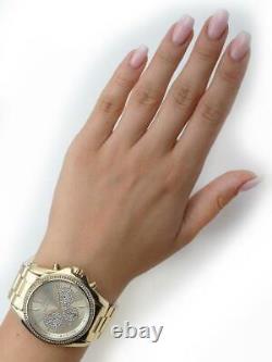 Michael Kors MK6538 Bradshaw Gold Tone Dial Pave Chrono Women Watch Brand New