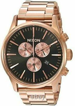 NIXON SENTRY A3861932 CHRONOGRAPH ROSE GOLD 42mm BLACK DIAL BRAND New