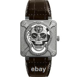 New Bell & Ross BR 01 Laughing Skull Steel Hand Wound Watch BR01-SKULL-SK-ST