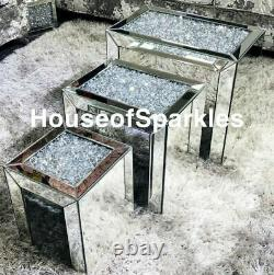 New Brand Crushed Diamond Silver Crystal Nest Of Tables Uk
