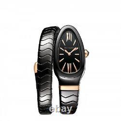 New Bulgari Serpenti Spiga Black Ceramic Quartz Movement 35mm Watch 102734