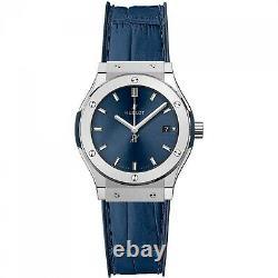 New Hublot Classic Fusion Titanium Quartz 33 mm Blue Watch 581. NX. 7170. LR