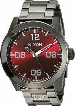 Nixon Corporal SS Watch Gunmetal / Deep Burgundy A3462073 Brand New