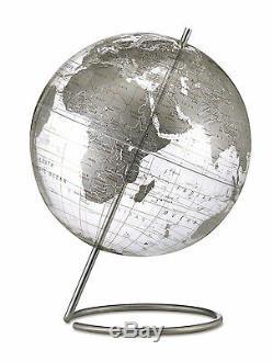 Replogle Crystal Marquise World Globe 12 Silver. Brand New